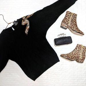 Black Gold Embellished Beaded Sweater